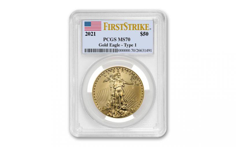 2021 $50 1-oz Gold American Eagle PCGS MS70 First Strike w/Flag Label