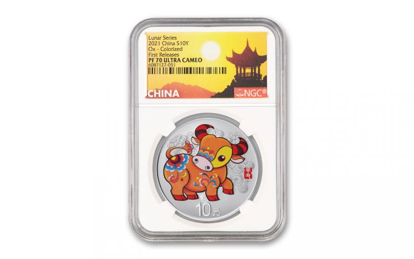 2021 China 30-gm Silver Year of the Ox Colorized Proof NGC PF70UC First Releases w/China Label