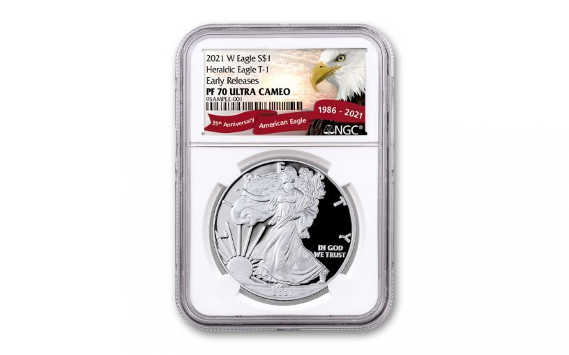 2021-W $1 1-oz American Silver Eagle Type 1 Proof NGC PF70UC Early Releases w/ Eagle Label