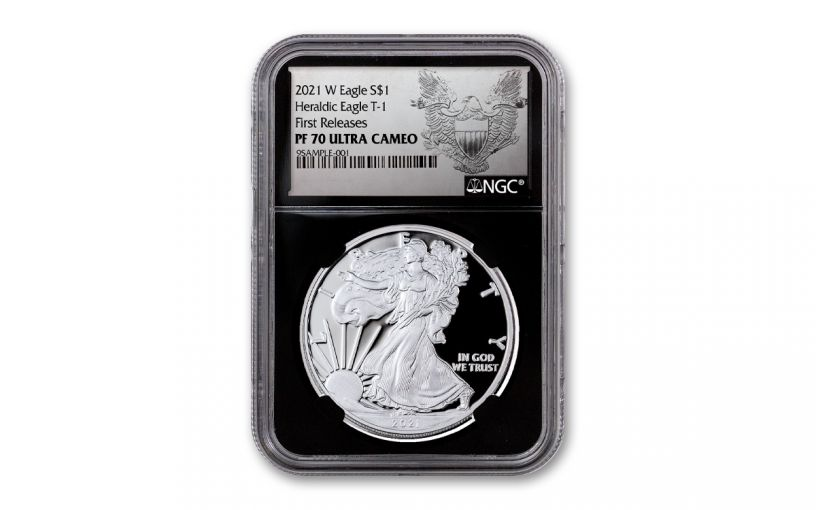 2021-W $1 1-oz American Silver Eagle Type 1 Proof NGC PF70UC First Releases w/ Black Core & Heraldic Eagle Label