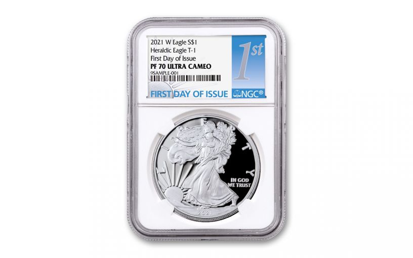 2021-W $1 1-oz American Silver Eagle Type 1 Proof NGC PF70UC First Day of Issue
