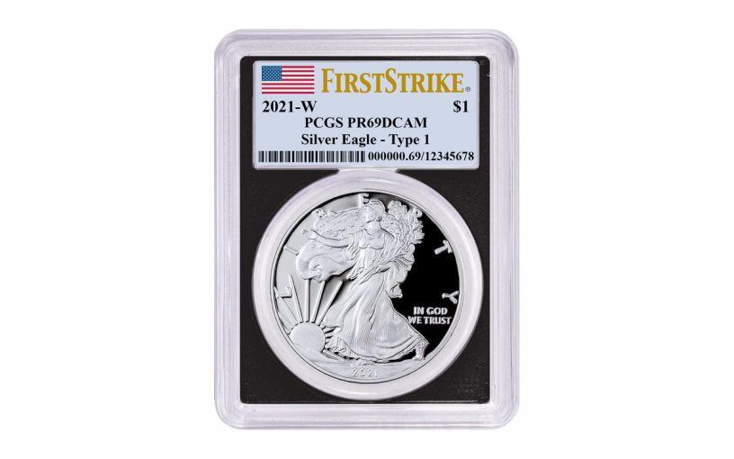 2021-W $1 1-oz American Silver Eagle Type 1 Proof PCGS PR69UC First Strike w/ Black Frame & Flag Label