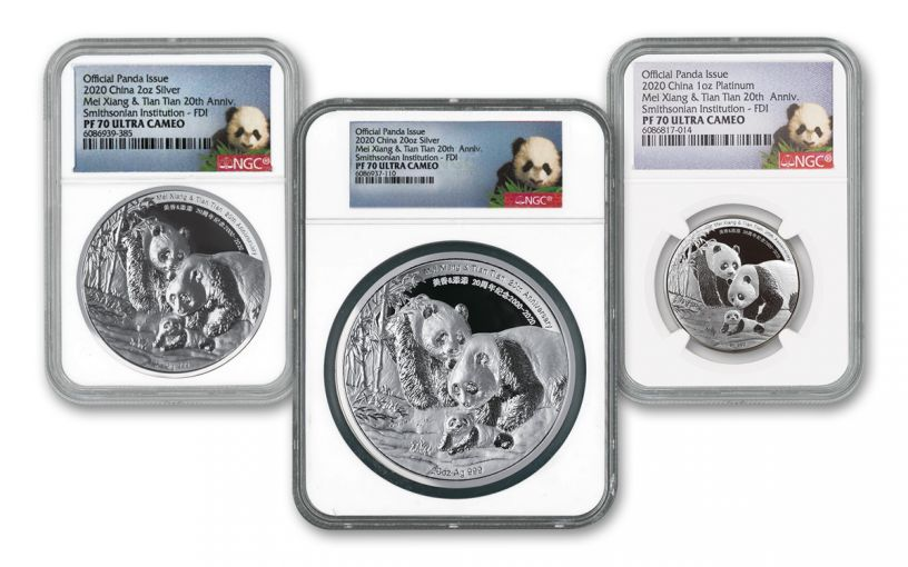 2000–2020 Smithsonian® Silver & Platinum National Zoo 20th Anniversary Panda 3-pc Proof Set NGC PF70UC First Day of Issue