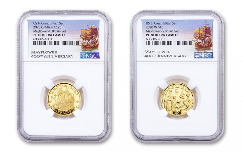2020 Great Britain/U.S. 1/4-oz Gold Mayflower 400th Anniversary Proof 2-pc Set NGC PF70