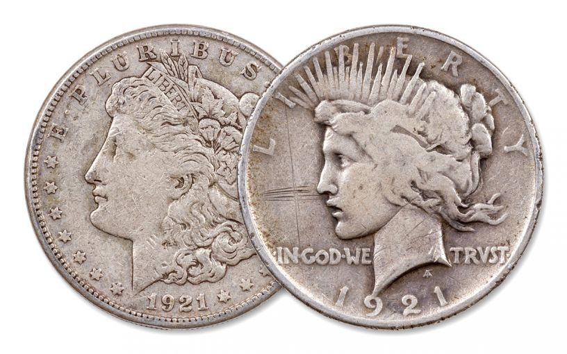 1921 $1 Silver Morgan & Peace Dollar 2-pc Set G–F