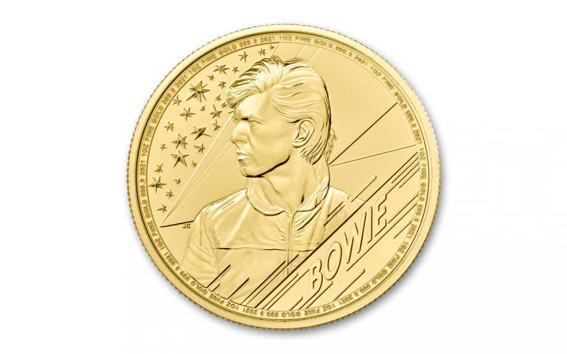 GB 2020 100 LB 1-OZ Gold David Bowie Brilliant Uncirculated