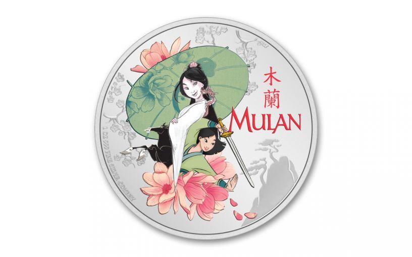 2021 Niue $2 1-oz Silver Disney Princess Mulan Colorized Gem Proof