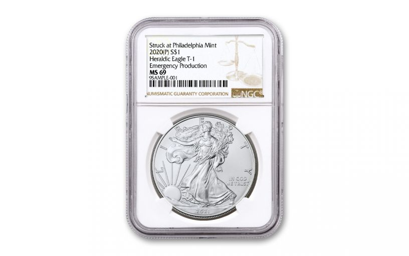 2021(P) $1 1-oz Silver Eagle Type 1 Struck At Philadelphia Emergency Production NGC MS69 w/Brown Label