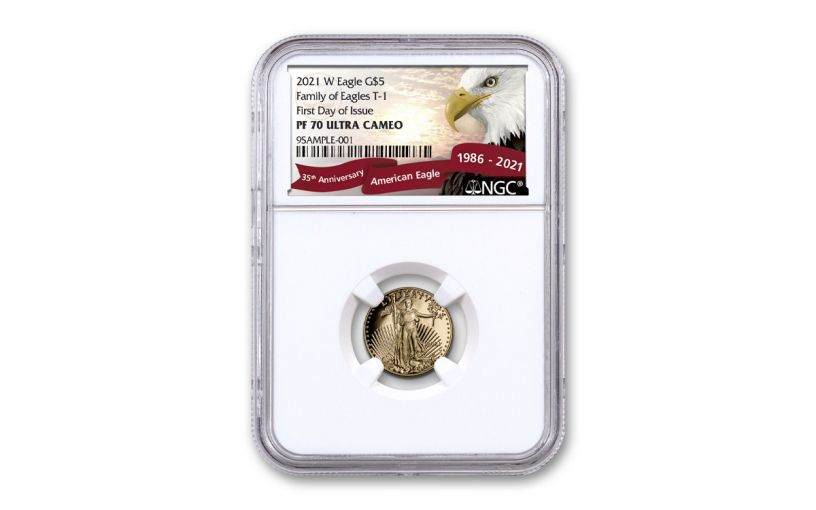 2021-W $5 1/10-oz Gold American Eagle Proof T-1 NGC PF70UC First Day of Issue Exclusive Eagle Label