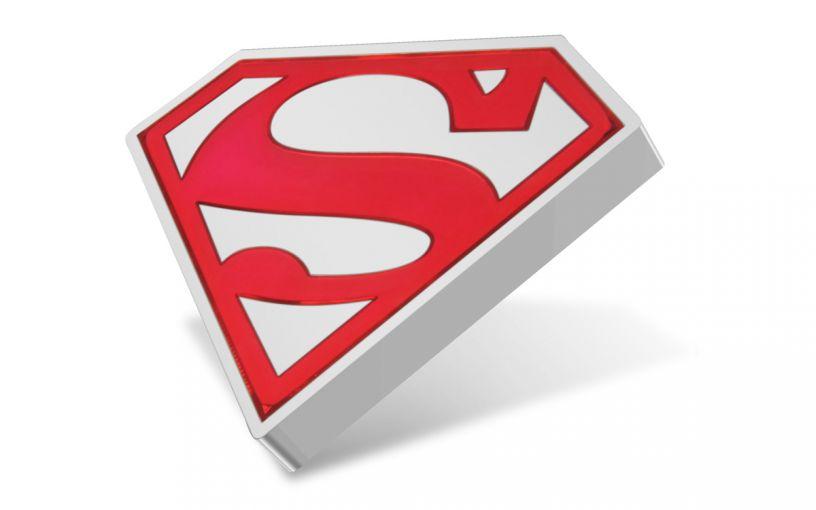 2021 Niue $2 1-oz Silver Superman™ Shield Shaped Colorized Gem Proof