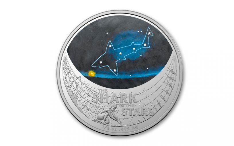 Australia 2021 $1 1/2-oz Silver Star Dreaming The Shark in the Stars Colorized BU