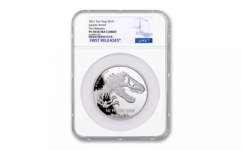 2021 Niue $10 5-oz Silver Jurassic World NGC PF70 First Releases