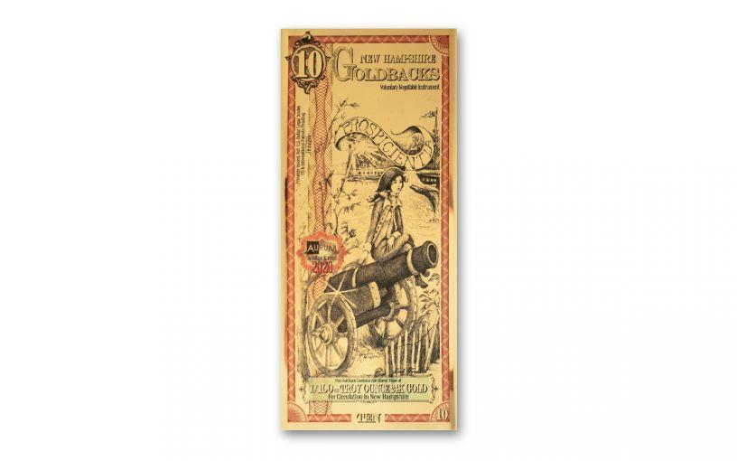 10 New Hampshire Goldback Aurum 24kt Gold Foil Note