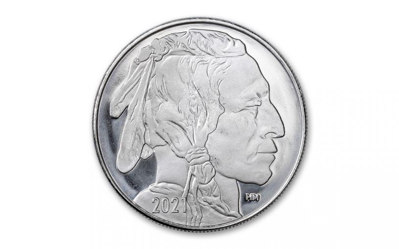2021 Highland Mint Buffalo Nickel Design 1 oz Silver Round GEM BU