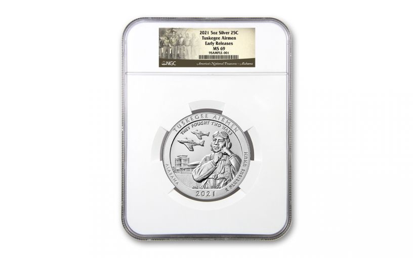 2021 America the Beautiful Quarter 5-oz Silver Tuskegee Airmen National Historic Site NGC MS69 Early Releases