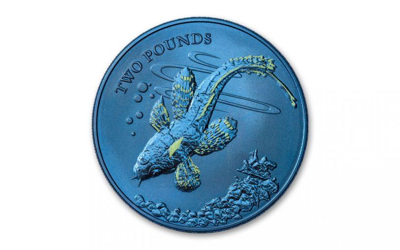 2021 British Antarctic Territory £2 10-gm Blue Titanium Plunderfish Glow-In-the-Dark Coin BU