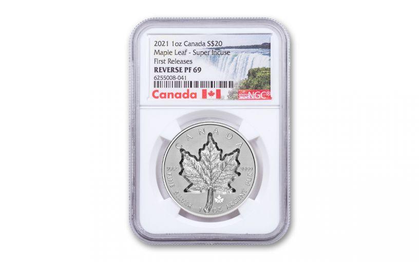 Canada 2021 Super Incuse Reverse Proof 1 oz Silver Maple $20 Coin NGC PF69 FR Exclusive Canada Label w/ COA