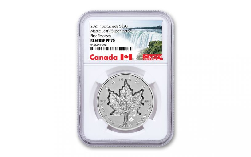 2021 Canada $20 1-oz Silver Maple Leaf Super Incuse Reverse Proof NGC PF70 First Releases w/Canada Label