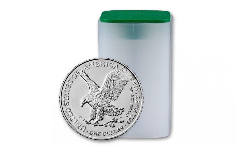 20 Piece 2021 $1 1oz Silver Eagle T2 BU Roll