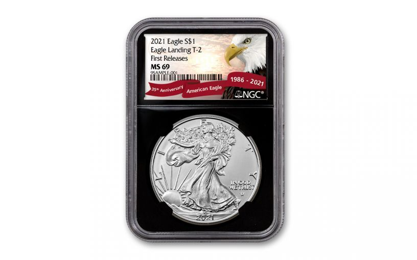 2021 $1 1oz Silver Eagle T2 NGC MS69 First Releases Black Core Exclusive Eagle Label