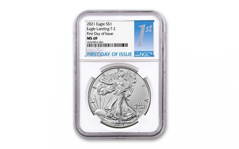 2021 $1 1oz Silver Eagle T2 NGC MS69 First Day of Issue