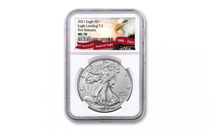2021 $1 1oz Silver Eagle T2 NGC MS70 First Releases Exclusive Eagle Label