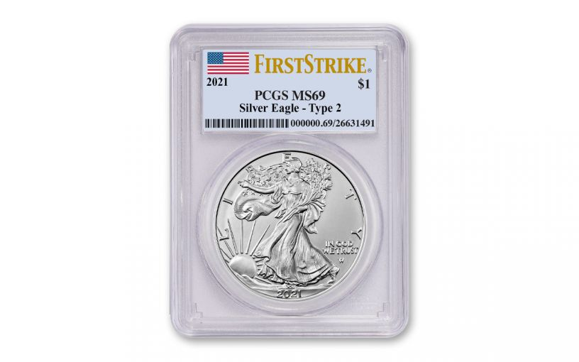 2021 $1 1oz Silver Eagle T2 PCGS MS69 FS Flag Label