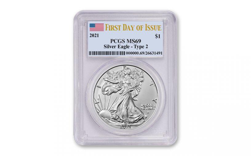 2021 $1 1oz Silver Eagle T2 PCGS MS69 FDI Flag Label