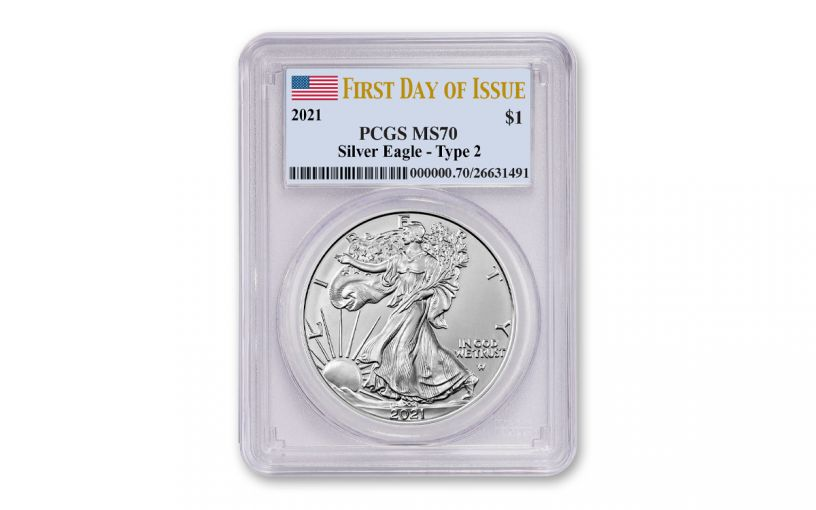 2021 $1 1oz Silver Eagle T2 PCGS MS70 First Day of Issue Flag Label