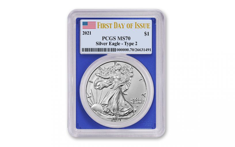 2021 $1 1oz Silver Eagle T2 PCGS MS70 First Day of Issue Blue Frame Flag Label