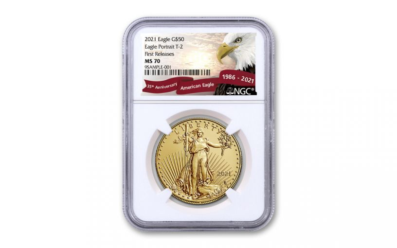 2021 $50 1 oz Gold American Eagle T2 NGC MS70 FR Exclusive Eagle Label