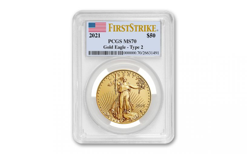 2021 $50 1 oz Gold American Eagle T2 PCGS MS70 FS Flag Label