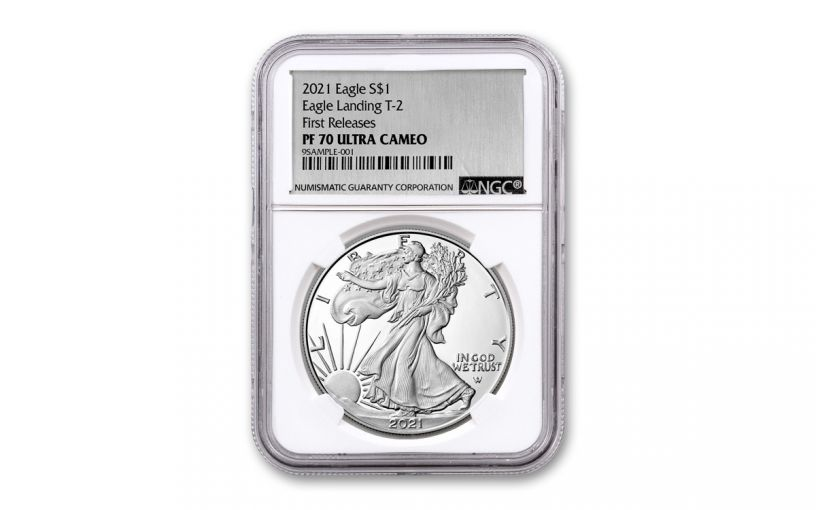 2021-W $1 1-oz Silver Eagle Type 2 Proof NGC PF70UC First Releases w/Silver Foil Label