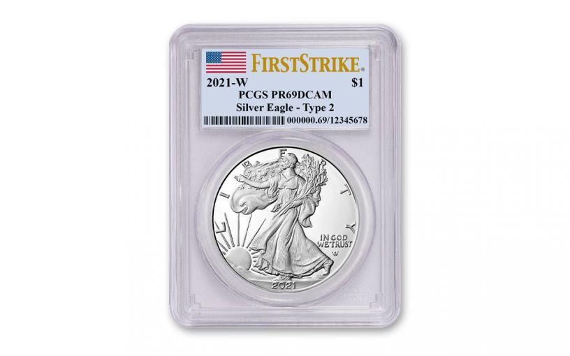 2021-W $1 1-oz Silver Eagle Type 2 Proof PCGS PR69DC First Strike w/Flag Label