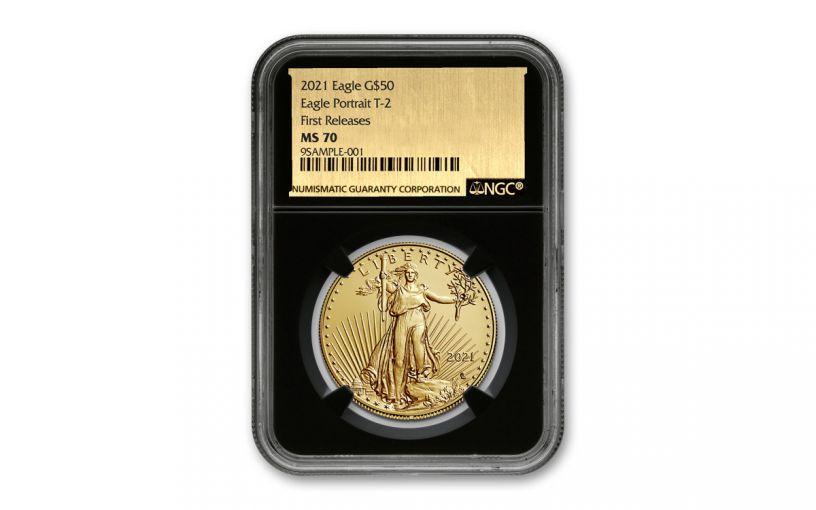 2021 $50 1 oz Gold American Eagle T2 NGC MS70 FR Exclusive Gold Foil Label Black Core Holder
