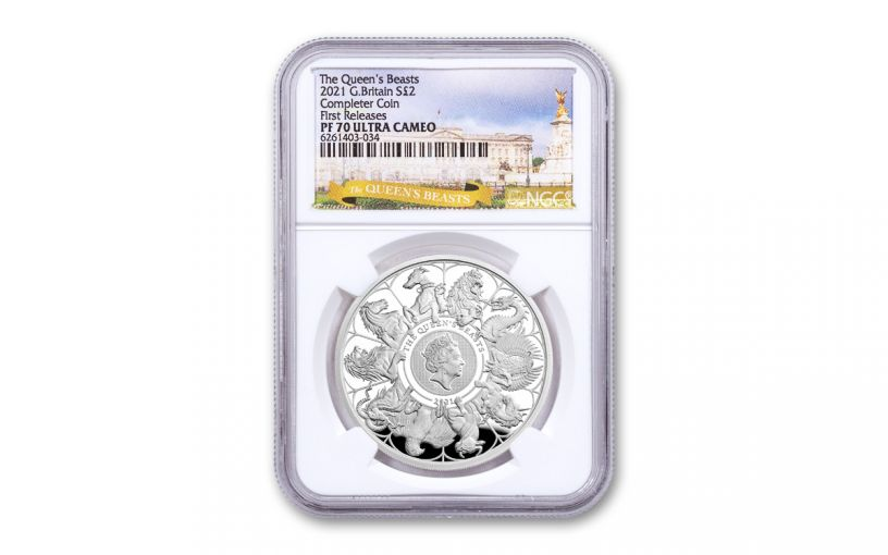 2021 Great Britain £2 1-oz Silver Queen's Beasts Completer Proof NGC PF70UC First Releases w/Beasts Label
