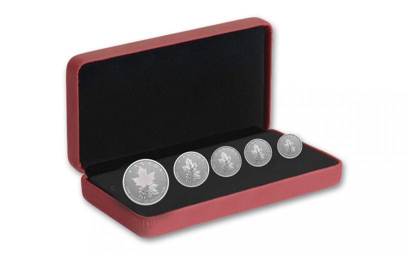 Canada 2022 Radiant Crown Silver Maple Leaf 5-Coin Set GEM Proof OGP