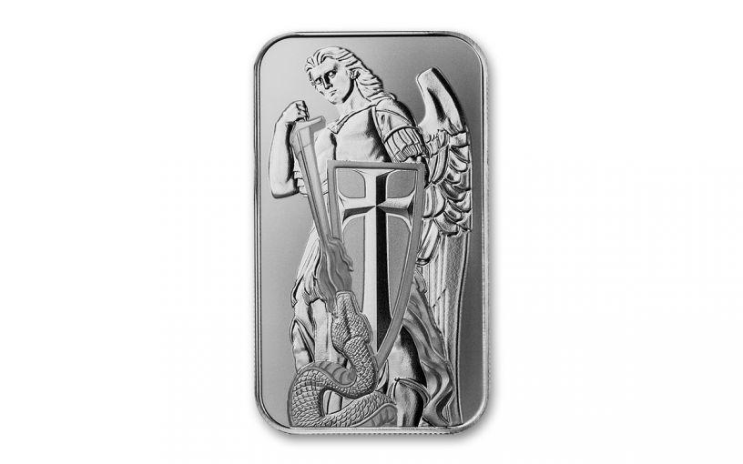 Scottsdale Mint 1-oz Silver Archangel Michael Bar Gem BU