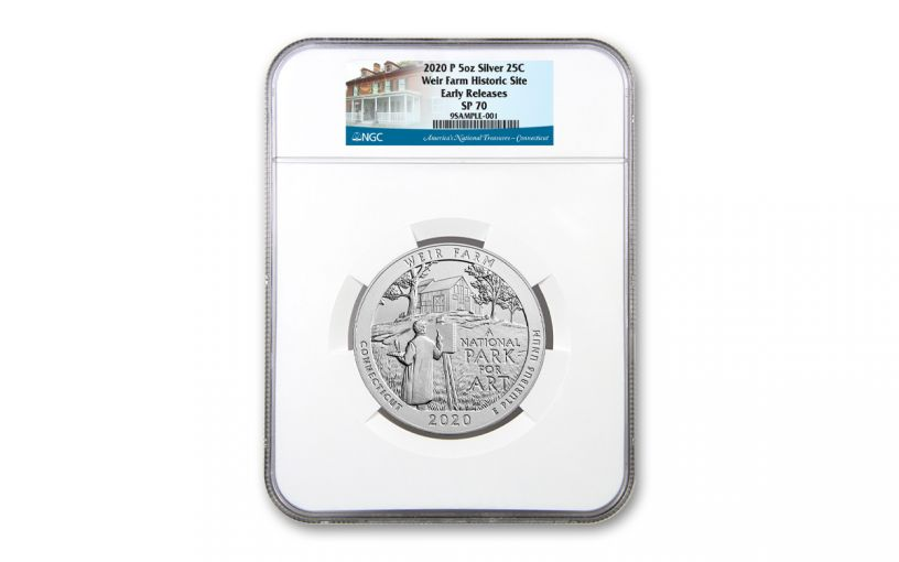 2020 America the Beautiful Quarter 5-oz Silver Weir National Historic Site Specimen NGC SP70 Early Releases
