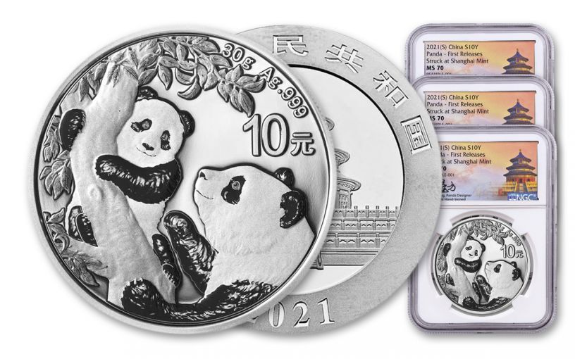 2021 China 30-gm Silver Panda NGC MS70 First Releases Struck at Shanghai Mint w/Signed Label 3-Pack