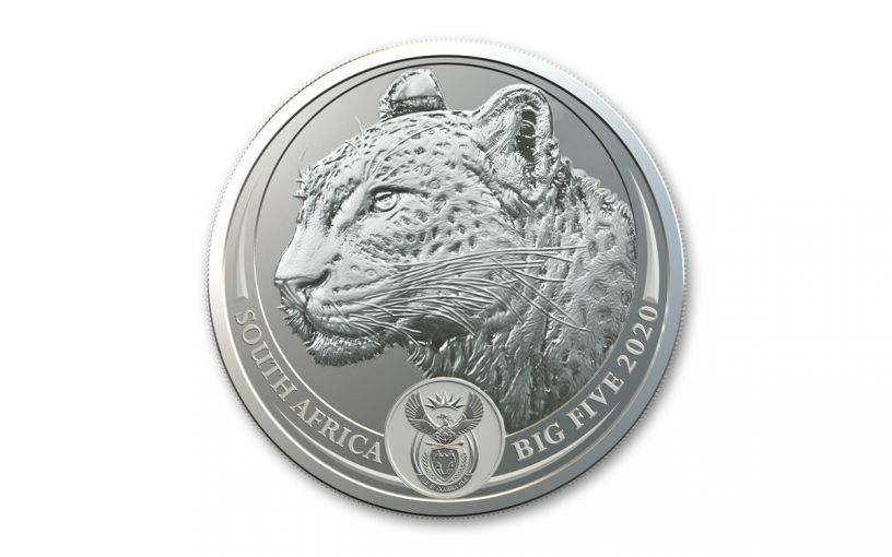 2020 South Africa 1-oz Silver Big 5 Leopard BU w/Blister Pack