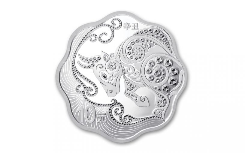 2021 China 30-gm Silver Year of the Ox Blossom-Shaped Proof