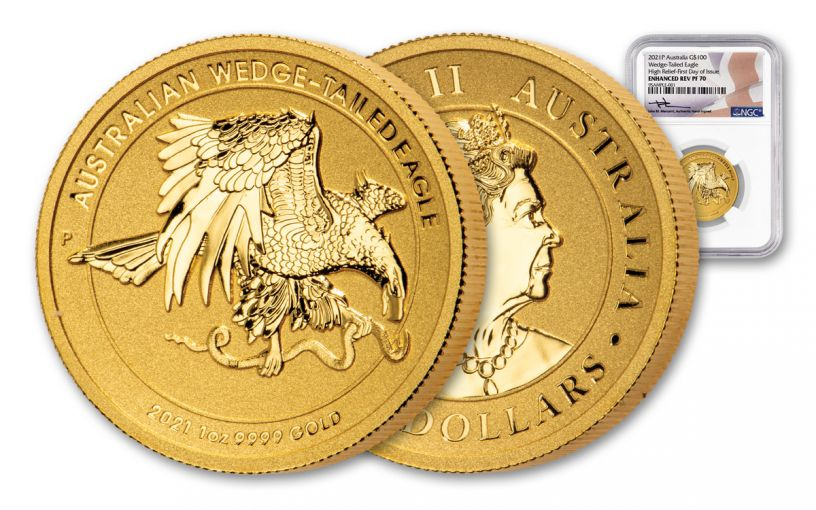2021 Australia $100 1 oz Gold Wedge-Tailed Eagle High Relief Enhanced Reverse Proof NGC PF70UC First Day of Issue w/Mercanti Signature
