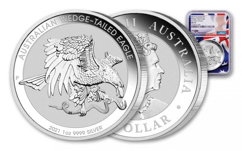 2021 Australia $1 1-oz Silver Wedge Tailed Eagle NGC MS70 First Day of Issue w/Flag Label & Mercanti Signature