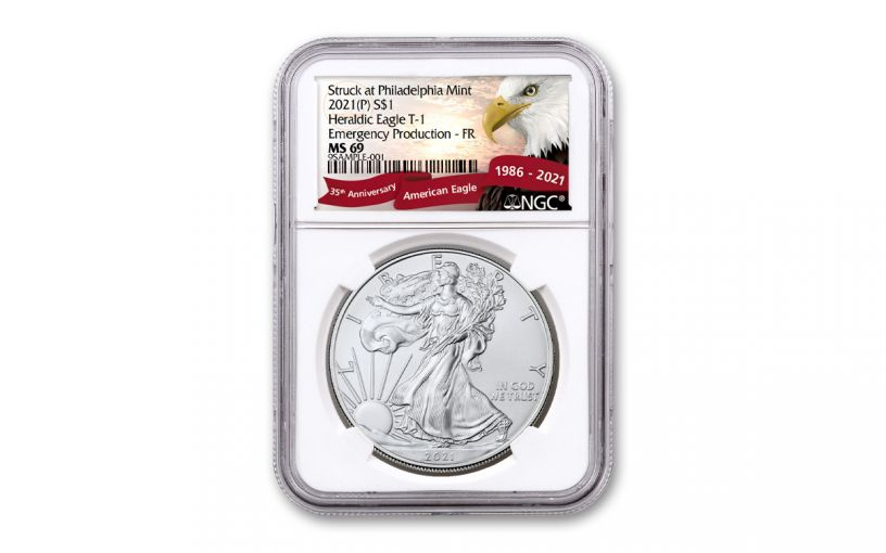 2021(P) $1 1-oz Silver Eagle Type 1 Struck At Philadelphia Emergency Production NGC MS69 First Releases w/Eagle Label