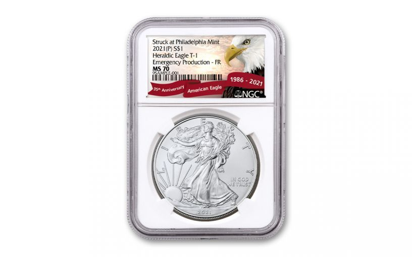 2021(P) $1 1-oz Silver Eagle Type 1 Struck At Philadelphia Emergency Production NGC MS70 First Releases w/Eagle Label