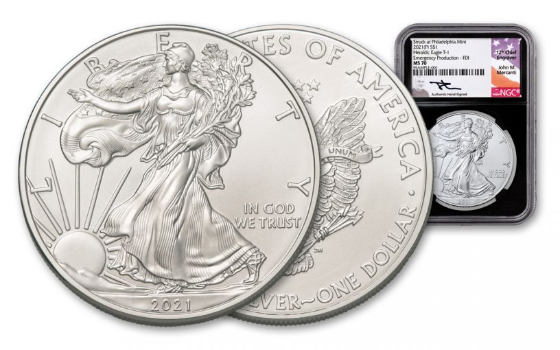 2021(P) $1 1-oz Silver Eagle Type 1 Struck At Philadelphia Emergency Production NGC MS70 First Day of Issue w/ Black Core & Mercanti Signature