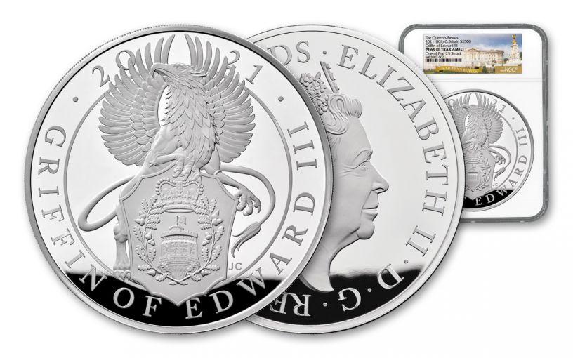 GB 2021 £500 Kilo Silver Queens Beast Griffin of Edward III NGC PF69UC FS