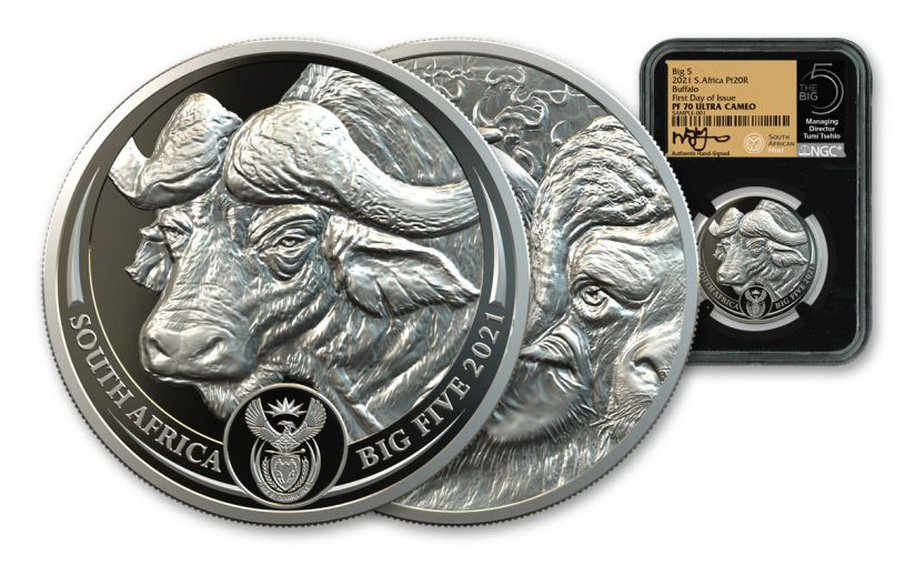 2021 South Africa 1-oz Platinum Big 5 Buffalo NGC PF70UC First Day of Issue w/Black Core, Big 5 Label & Tumi Signature