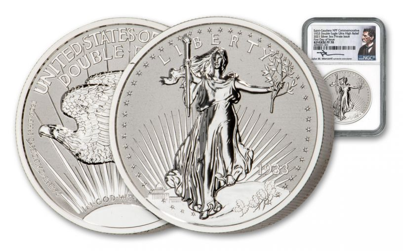 1933–2021 NPF 3-oz Silver Saint-Gaudens Double Eagle Reverse Proof NGC PF70 First Day of Issue w/Mercanti Signature